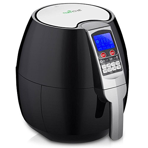 NutriChef Electric Hot Air Fryer Oven w/ Digital Display - Big 3.7 Qt Capacity Stainless Steel Kitchen Oilless Convection Power Multi Cooker w/ Basket, Pan - Use for Baking, Grill - PKAIRFR54 (Black)