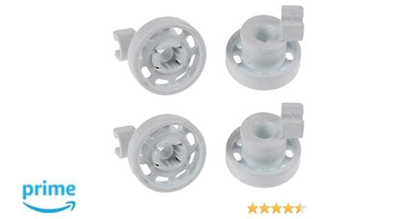 Juego de 4 ruedas para cesta superior de lavavajillas Bosch Neff Siemens, color blanco