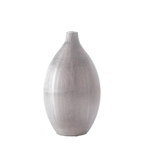 Accent Plus Modern Vase, Nouveau Zeal Silver Art Decorative Flower Glass Vase for Centerpiece
