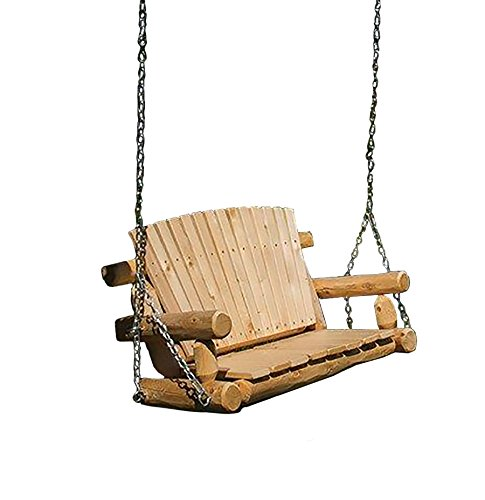 (Rustic Outdoor White Cedar Log Child's Swing - Amish Made in the USA)