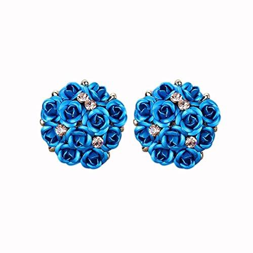 Earrings, Paymenow 2018 New Women Girls Bohemia Earrings Fashion Rhinestone Crystal Flower Stud Earrings Jewelry (A) (Diamond Turquoise Stud)