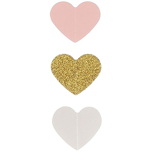 Ling's moment 9 Feet Glitter Paper Heart Garland, Heart-Shaped Hanging Banner Decorations for Bridal Shower, Party Wedding, Baby Shower, Party, Valentines, Engagement(Gold Glitter+Pink+White)