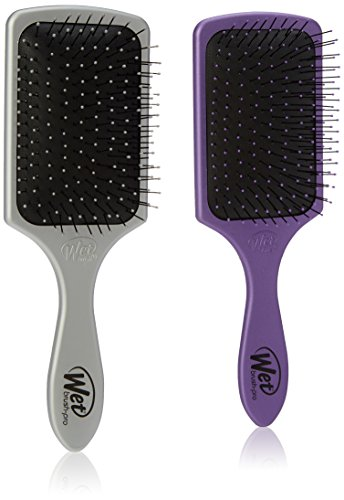 Wet Brush Pro Detangle Paddle Hair Brush, Silver & Purple Duo