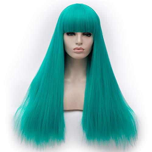 Alacos Fashion 65CM Long Straight Lolita Harajuku Brow-Skimming Bangs Daily Party Costumes Wigs for Women +Free Wig Cap (Green)