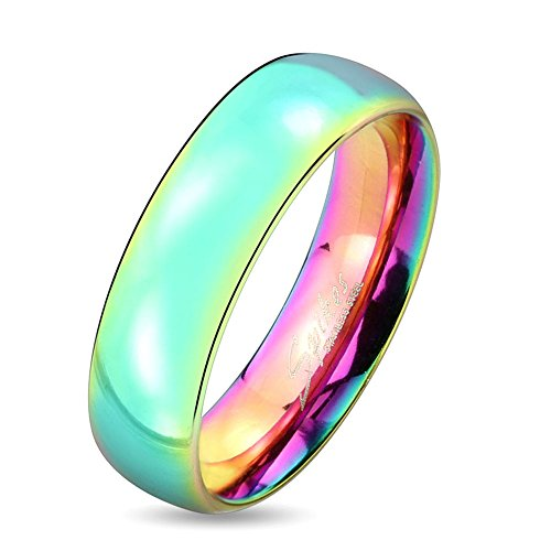 Jinique STR-0416 Stainless Steel Dome Rainbow Ring; Sold as 1 Piece (6)