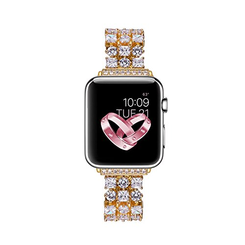 Solomo Compatible for Apple Watch Band 40mm 38mm, Luxury Diamond Jewelry Loop Stainless Steel Metal Quick Replacement Strap with Adjustable Buckle for Iwatch Series 4 / Series 3 / Series 2/1 (Gold)