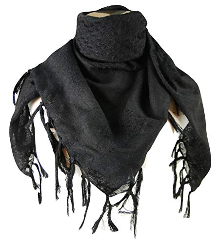 Premium Shemagh Head Neck Scarf - Black/Black -