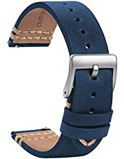 TStrap Leather Watch Band 20mm - Soft Brown Quick Release Watch Strap Replacement - Waterproof Sport Watch Bands for Men Women - Smart Watches Bracelet Black Clasp Buckle – 18mm 19mm 21mm 22mm