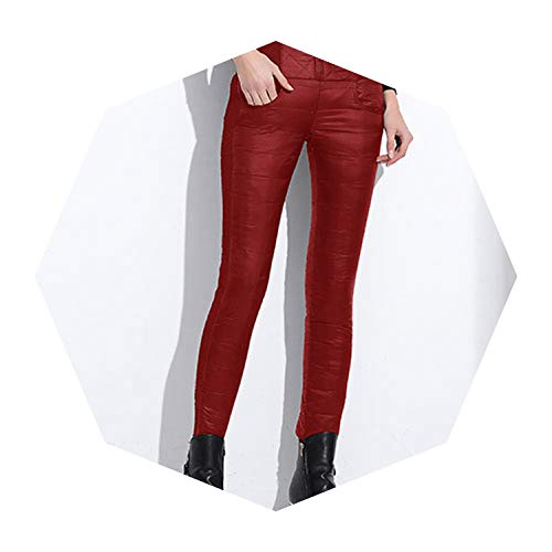 pursuit-of-self Women Pants Trousers Winter High Waisted Outer Wear Slim Warm Thick Duck Down Pants,808 red,M for $<!--$39.64-->