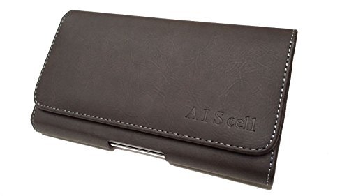 (AIScell Universal Belt Clip Pouch for Smartphone [ Sideways Brown Suede Leather Belt Loop Case Holster ] Compatible LG G8 ThinQ,G7 ThinQ,V30, G6,V35 ThinQ with Slim Hybrid Protective Cover (Brown))