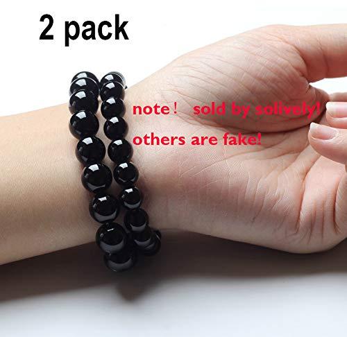Black Tourmaline Crystal Bracelet  Magnetic Bracelet for Men and Women(2 Pack)