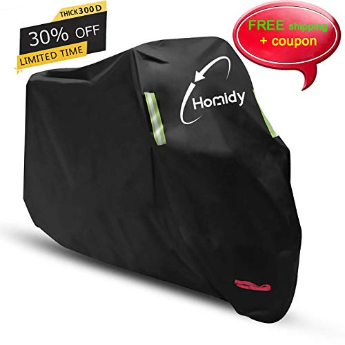 (Aideng Motorcycle Cover, New Upgraded Thicker 300D Oxford All Season Super Waterproof Motorcycle Rain Cover Breathable Bicycles Shelter Cover for XXL-104 inches Harley, Triumph, Suzuki, Honda-Green)