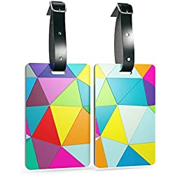 Shacke Luggage Tags with Genuine Leather Strap - Set of 2 (Geo Shapes)
