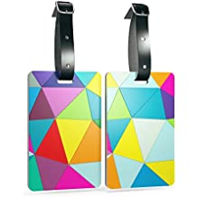 Shacke Luggage Tags with Genuine Leather Strap - Set of 2