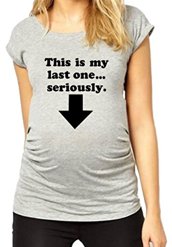 - HAPPYBERRY Women Maternity T Shirt Funny Pregnancy Tops Ruched Side Graphic Tee Grey Small