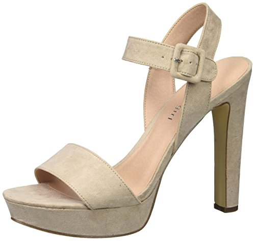 Madden Girl Women's Rollo Heeled Sandal, Blush Fabric, 7 M US