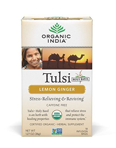 - ORGANIC INDIA Tulsi Lemon Ginger Tea - Delicious Holy Basil and Lemon Ginger Blend Rich in Antioxidants - 100% Certified Organic, Non-GMO, and Fair Trade, 18 Tea Bags (1 Pack)