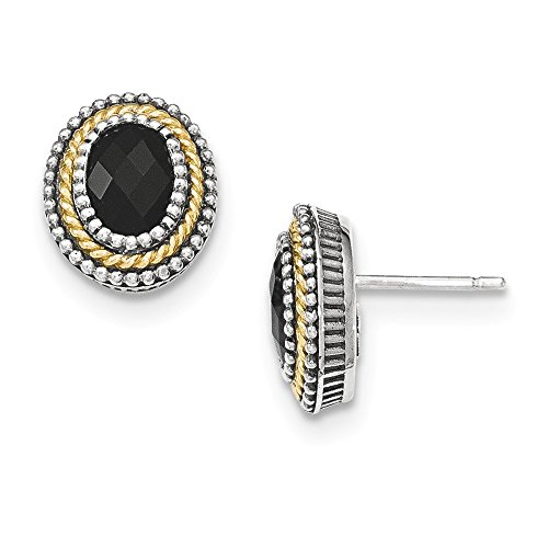 Sterling Silver w/14k Black Onyx Post Earrings by Jewels By Lux