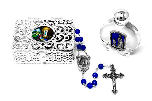 Lourdes Water Rosary Beads Catholic Gift Set with Blue Agate Chaplet, Bottle of Lourdes Water & Rosary ()