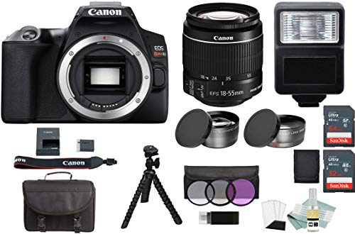 Canon EOS Rebel SL3 DSLR Camera Bundle + EF-S 18-55mm is STM Lens Kit, Black + 32GB & 64GB Memory Cards, Case, Tripod, 2X Telephoto Lens, 58mm Wide Angle Lens, and Complete Accessory Kit