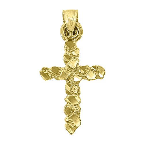 (14kt Gold Unisex Diamond Cut Nugget Cross Height 17.1mm Religious Pendant Charm)