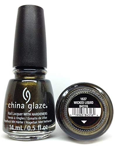 China Glaze Nail Lacquer 0.5oz/14ml - PAINT IT BLACK Halloween 18 - Pick color (1637 - Wicked Liquid) ()