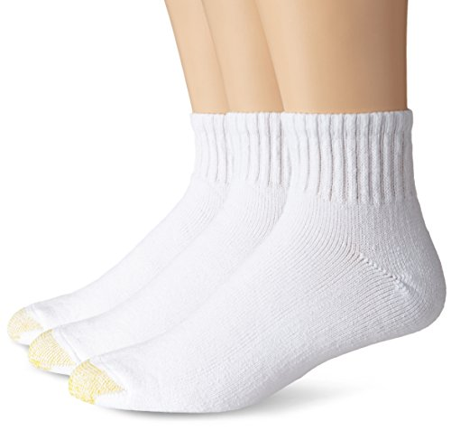 Gold Toe Men's Big and Tall Ultra Tec Quarter Three-Pack Extended Socks, White, 13-15