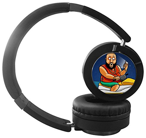 New Cool DJ Khaled Folding Design Wireless Bluetooth Headphones with Mic Over Ear, Headsets for IPhone, IPad, Smartphone and TV, 3.5mm Plug Black