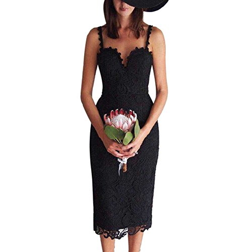 Broadroot donne vintage Lace Condole cintura Hollow Out Flower party Dress (3#) (S)