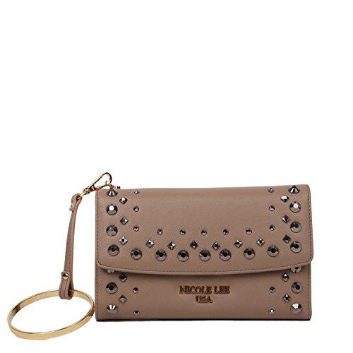 Tri-Fold Wristlet Wallet Embellished with Beads [Camel]