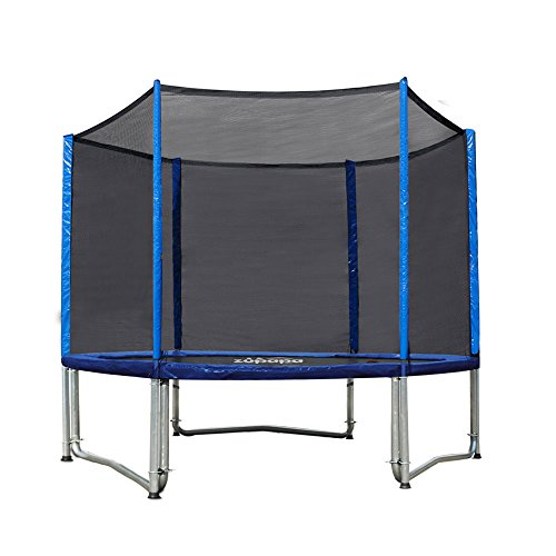 Zupapa TUV Approved Trampoline Combo 10ft with Safety Pad and Pole and Enclosure Net and Jumping Mat and Ladder and Rain Cover T-hook