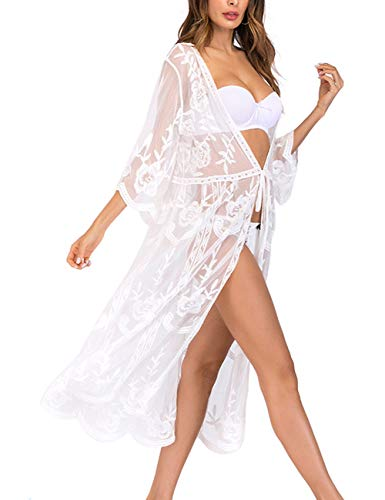(Womens White Kimono Lace Up Embroidered Sheer Mesh Floral Kimono Cover Up Cardigan)