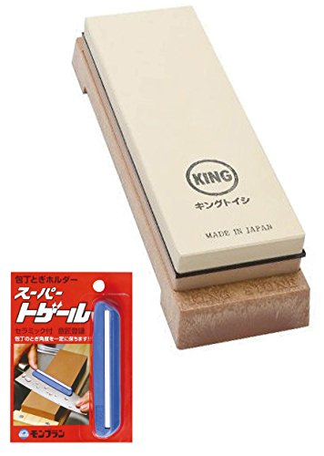 [value set] KING KW65 1000/6000 Grit Combination Whetstone with Plastic Base +''Super Togeru Knife'' Sharpening Guide with an Original Paperclip by JDC