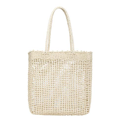 Pengy Women's Straw Shopper Tote Handbag Lightweight Casual Summer Hollow Bag for Lady