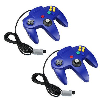 2 New Clear Blue Long Handle Controller Pad Joystick for Nintendo 64 N64 System (N64 Controller)