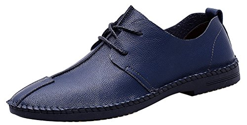 Concise Bussiness Fresh Lightweight Cozy Walking Party Driving Blue Leisure Oxfords 20181 Blind Up Simple Abby Eyelets Loafers Pointed Mens Lace Toe FIwxHO