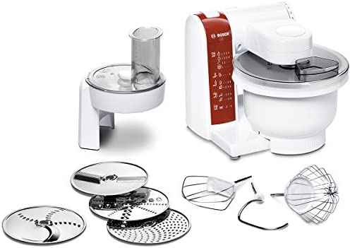 Bosch MUM48010DE - Robot de cocina (3,9 L, Rojo, Blanco, 1,2 m, 4 discos, De plástico, Acero inoxidable): Amazon.es: Hogar