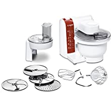 Bosch MUM48010DE - Robot de cocina (3,9 L, Rojo, Blanco, 1,2 m, 4 discos, De plástico, Acero inoxidable)