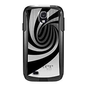 CUSTOM Black OtterBox Commuter Series Case for Samsung Galaxy S4 - Black White Swirl Vortex Geometric