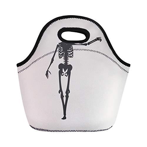 Semtomn Neoprene Lunch Tote Bag Anatomy Human Skeleton Posing Halloween Party Backbone Biology Body Reusable Cooler Bags Insulated Thermal Picnic Handbag for Travel,School,Outdoors, Work ()