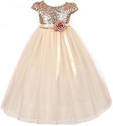 Cap Sleeve Sequin Bodice Flower Girl Dress