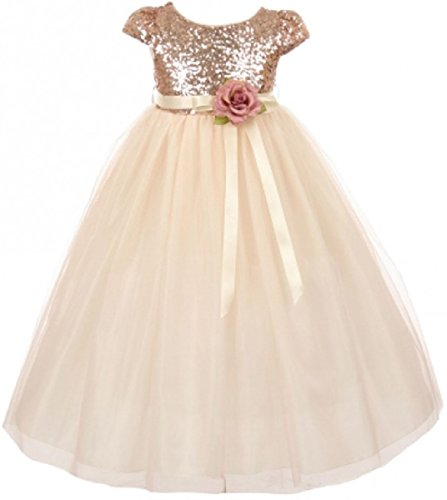 Little Girls Dress Cap Sleeve Sequin Bodice Flower Pageant Party Flower Girl Dress Blush Size 6 (K20K79)]()