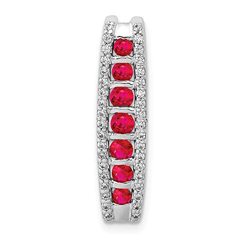 (14k White Gold Diamond With 1/6 Ruby Fancy Chain Slide Pendant from Roy Rose Jewelry)