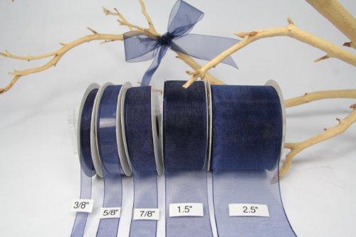 Navy Blue Organza Sheer Ribbon-25 Yards X 3/8 Inches