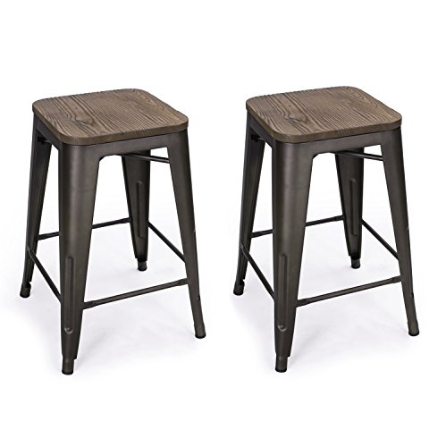 Joveco 24 inches Vintage Antique Copper Metal Dark Bronze Counter Bar Stools With Wood Top Seat, Set of 2 Wholesale Price Available
