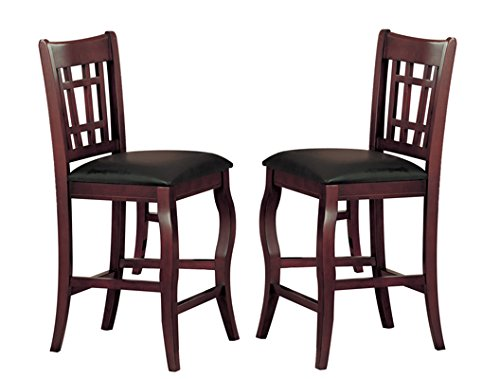 Milton Greens Stars 8718CH Burgos Counter Height Chair, Cherry, Set of 2 - Brown Cherry Dining Chairs