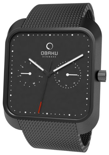 Obaku Harmony Black Dial Black IP Stainless Steel Mens Watch V145UBBMB