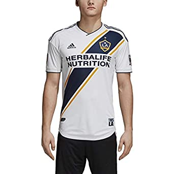 Amazon.com  adidas LA Galaxy 2018 Home SS Authentic Jersey- White ... 7a4799944