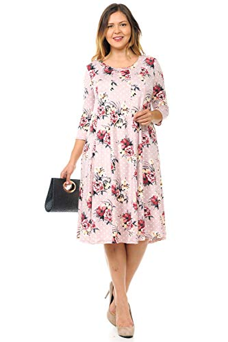 Pastel by Vivienne Women's A-Line Trapeze Midi Dress Plus Size XXX-Large Floral Blush Polka