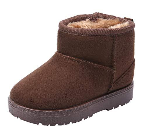 WUIWUIYU Kids' Boys' Girls' Round Toe Outdoor Warm Fur Lined Winter Snow Boots Toddler Little Kid by WUIWUIYU